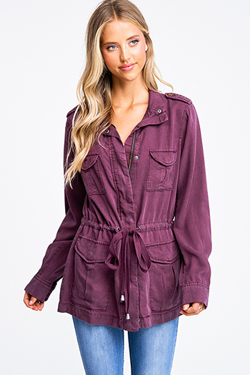 $30 - Cute cheap ice blue satin white lace contrast long sleeve zip up boho bomber jacket - Plum wine tencel long sleeve drawstring waist button up zip up hooded anorak trench coat jacket