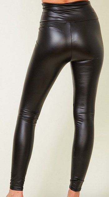 $14.50 - Cute cheap clothes - Plus Faux leather high waist skinny leggings