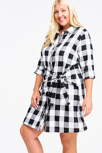 $20 - Cute cheap ruched fitted mini dress - Plus size black buffalo check plaid long sleeve faux wrap button up boho shirt dress