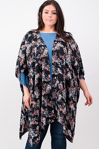 $25 - Cute cheap black floral print cut out mock v neck long trumpet bell sleeve boho blouse top - Plus size black floral print satin short sleeve open front kimono boho cardigan top