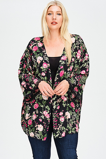 $25 - Cute cheap black abstract print chiffon semi sheer double breasted trench coat dress - plus size black floral print crochet lace trim long sleeve open front boho kimono cardigan top