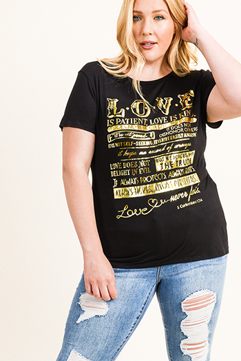 $15 - Cute cheap print boho wrap top - Plus size black gold foil graphic print short sleeve boho tee shirt top