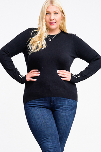 $20 - Cute cheap boho - Plus size black long sleeve pearl studded cuffs boho sweater knit top
