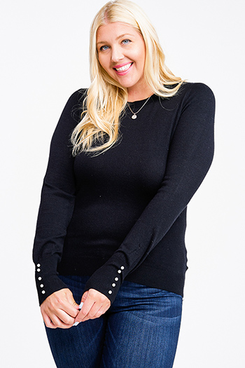 $20 - Cute cheap Plus size black long sleeve pearl studded cuffs boho sweater knit top