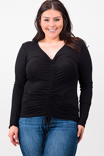 $15 - Cute cheap black sheer top - plus size black long sleeve v neck ruched front boho top