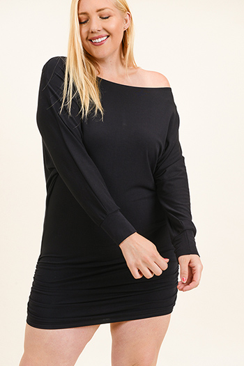 $20 - Cute cheap boho party mini dress - Plus size black off shoulder long dolman sleeve ruched fitted sexy club mini dress
