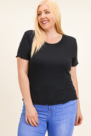 $10 - Cute cheap beige boho fringe top - Plus size black ribbed knit lettuce hem short sleeve boho tee shirt top