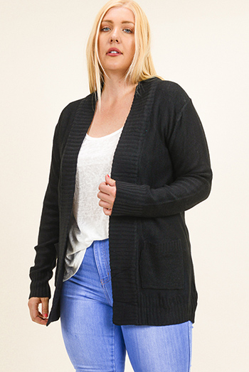 $15 - Cute cheap black ribbed knit long dolman sleeve surplice faux wrap belted sweater mini dress - Plus size black ribbed sweater knit long sleeve open front pocketed boho cardigan