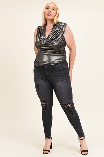 $20 - Cute cheap Plus size black washed denim mid rise distressed frayed fitted skinny jeans