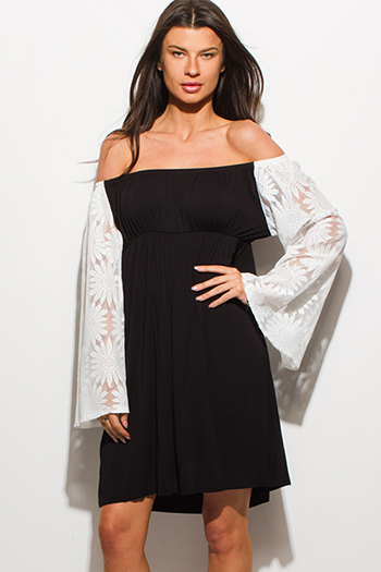 $12 - Cute cheap black crochet trim cotton gauze resort wide leg pants - plus size black white off shoulder crochet lace long bell sleeve boho mini dress