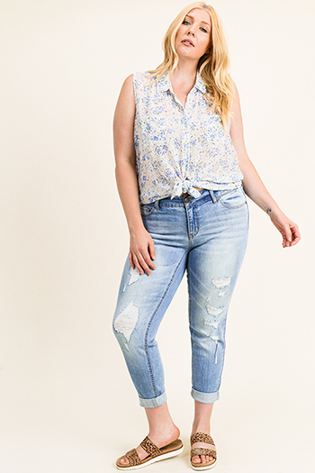 $25 - Cute cheap Plus size blue washed denim mid rise distressed rolled hem boho skinny jeans