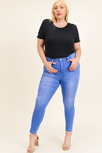 $15 - Cute cheap hart blue washed denim ripped distressed mid rise fitted crop capri skinny jeans - Plus size blue washed denim ultra high rise curvy sculpting fitted skinny jeans