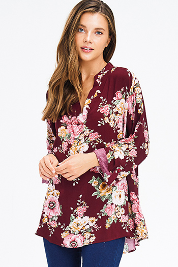 $20 - Cute cheap sheer boho top - plus size burgundy red floral print indian collar long sleeve boho blouse top