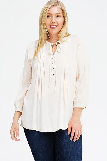 $15 - Cute cheap white low neck short sleeve slub tee shirt top - plus size cream beige tie front quarter length sleeve button up boho peasant blouse top