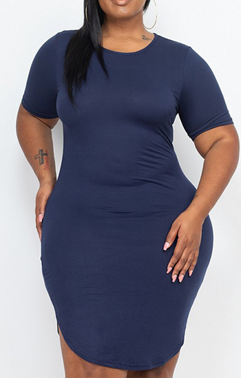 $15.50 - Cute cheap plus size curved hem mini dress