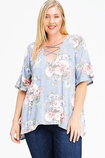 $15 - Cute cheap purple floral print crochet v neck laceup tie front long sleeve boho blouse top - plus size dusty blue floral print caged cut out ruffle bell sleeve boho tee shirt top