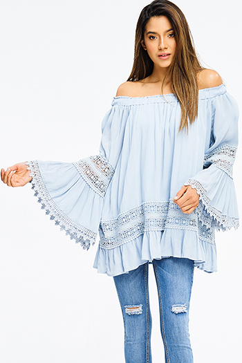 $15 - Cute cheap blue pinstripe rose patch ruffle tiered strapless boho tunic top - plus size dusty blue off shoulder long bell sleeve crochet lace trim boho blouse top