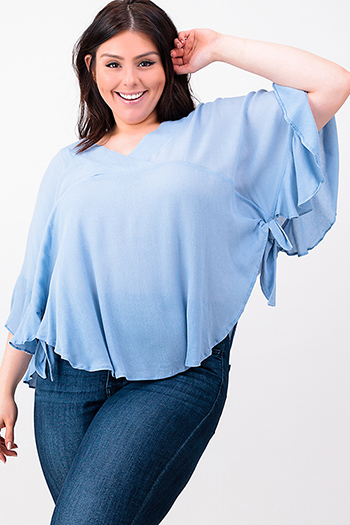 $15 - Cute cheap light blue tencel embroidered off shoulder short sleeve frayed hem boho crop top - Plus size dusty blue v neck ruffled butterfly sleeve side tie boho blouse top