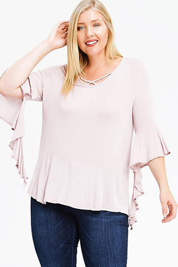 $15 - Cute cheap sheer boho top - plus size dusty pink caged cut out neck waterfall trumpet bell sleeve boho blouse top