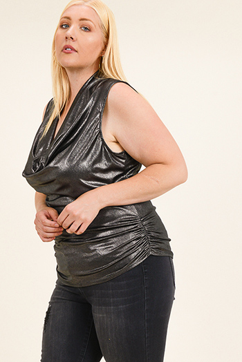 $15 - Cute cheap black satin v neck faux wrap ruched bodycon cocktail party sexy club mini dress - Plus size gunpowder black metallic sleeveless draped cowl neck ruched club top