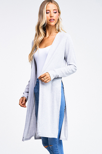$20 - Cute cheap charcoal gray long sleeve double breasted button up hooded pocketed jacket - Plus size heather grey ribbed knit long sleeve slit sides open front boho duster cardigan
