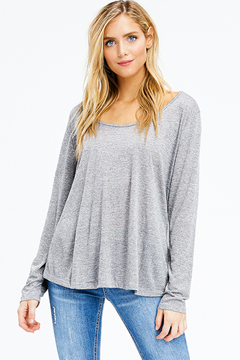 $10 - Cute cheap black ribbed knit surplice faux wrap long slit sleeve wrist tie boho top - plus size heathered charcoal grey scoop neck long sleeve knit top