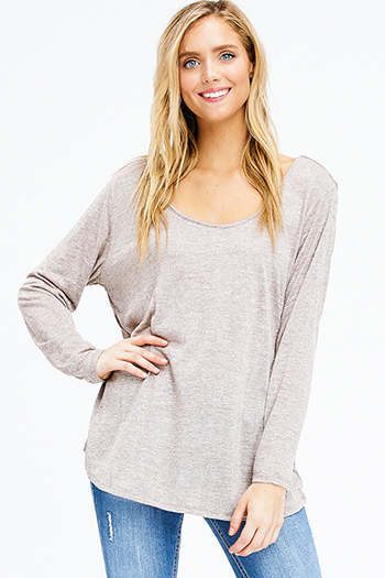 $10 - Cute cheap black ribbed knit surplice faux wrap long slit sleeve wrist tie boho top - plus size heathered taupe brown scoop neck long sleeve knit top