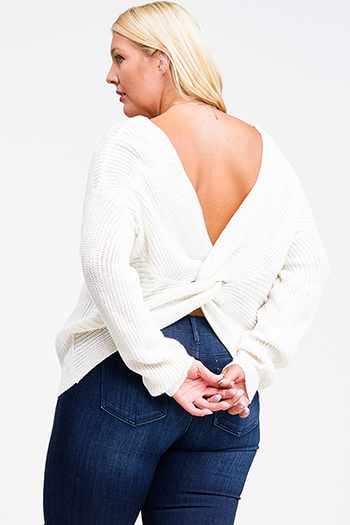 $25 - Cute cheap brown boho crochet top - Plus size Ivory white knit long sleeve v neck twist knotted back boho sweater top