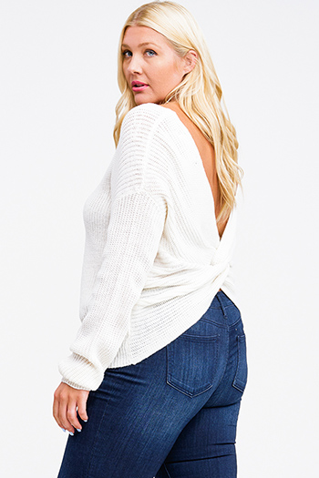 $25 - Cute cheap white asymmetrical hem quarter sleeve zip up fitted blazer jacket top - Plus size Ivory white knit long sleeve v neck twist knotted back boho sweater top