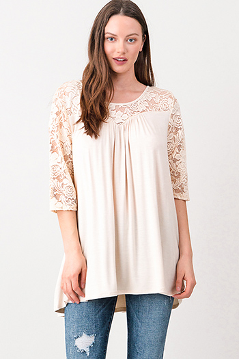 $15 - Cute cheap beige lace boho top - Plus size ivory beige sheer lace panel quarter sleeve cut out caged back boho top