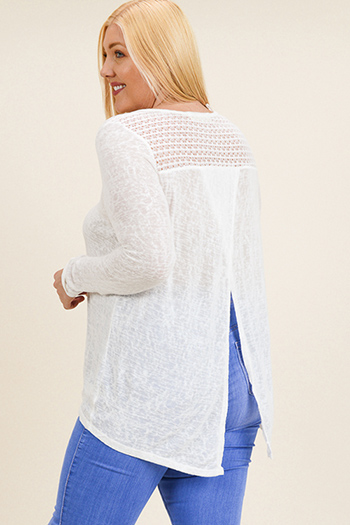 $15 - Cute cheap lace boho top - Plus size ivory white crochet lace panel long sleeve surplice slit back boho knit top
