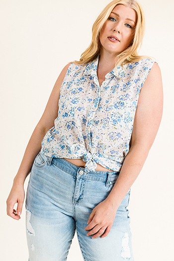 $10 - Cute cheap navy blue gauze blouse - Plus size ivory white floral print chiffon sleeveless button up boho blouse top