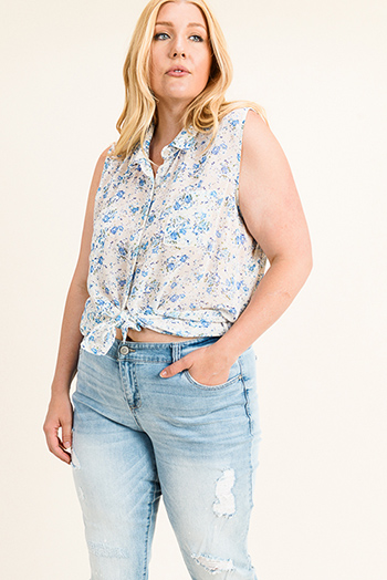 $15 - Cute cheap teal blue multicolor abstract ethnic print indian collar boho peasant blouse top - Plus size ivory white floral print chiffon sleeveless button up boho blouse top