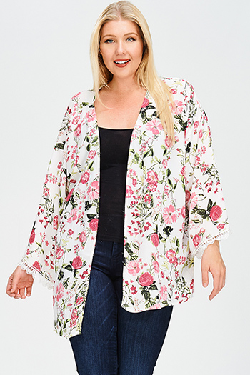 $25 - Cute cheap blouson sleeve top - plus size ivory white floral print crochet lace trim long sleeve open front boho kimono cardigan top