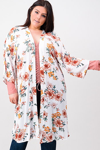 $15 - Cute cheap burgundy red double georgette ruffle tie front v neck petal sleeve blouse top - Plus size ivory white floral print long sleeve open front boho kimono cardigan top