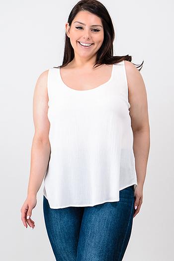 $10 - Cute cheap khaki beige grown long sleeve round neck cut out twist back boho top - Plus size ivory white scoop neck back vent boho tank top