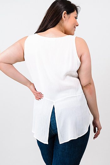 $10 - Cute cheap white semi sheer chiffon keyhole mock neck half sleeve button up peplum blouse top - Plus size ivory white scoop neck back vent boho tank top