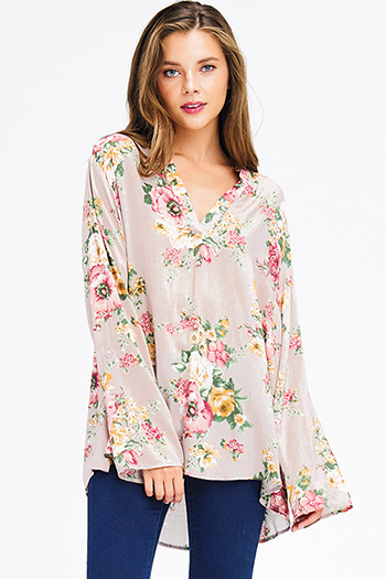 $16 - Cute cheap cream beige floral print long sleeve sheer lace panel thermal knit boho tunic top - plus size khaki beige floral print indian collar long sleeve boho blouse top