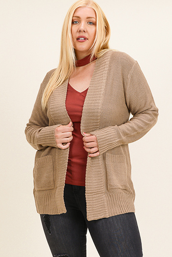 $20 - Cute cheap plum purple burgundy chenille fuzzy knit long sleeve draped neck open front pocketed boho sweater cardigan - Plus size khaki brown ribbed sweater knit long sleeve open front pocketed boho cardigan