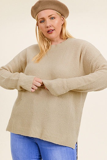 $25 - Cute cheap v neck blouse - Plus size khaki tan long sleeve round neck boho sweater knit top