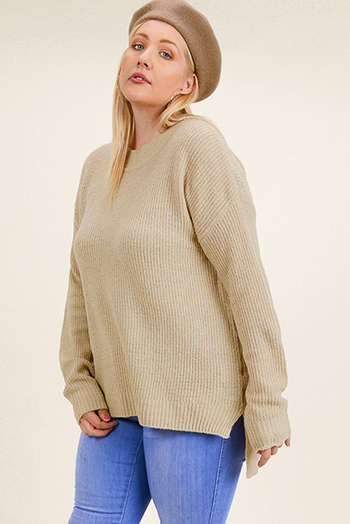 $20 - Cute cheap taupe beige long sleeve oversized hooded boho textured slub sweater top - Plus size khaki tan long sleeve round neck boho sweater knit top