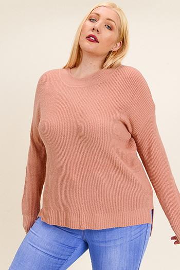 $20 - Cute cheap rust red thermal knit long sleeve crop boho button up top - Plus size mauve pink long sleeve round neck boho sweater knit top