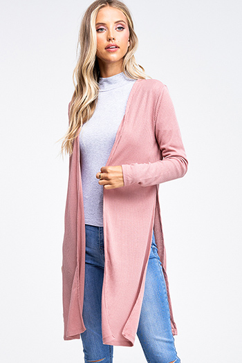 $20 - Cute cheap black ribbed knit long dolman sleeve surplice faux wrap belted sweater mini dress - Plus size mauve pink ribbed knit long sleeve slit sides open front boho duster cardigan
