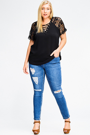 $20 - Cute cheap mesh fitted sexy club catsuit - plus size medium blue washed denim distressed ripped knee mid rise fitted skinny jeans