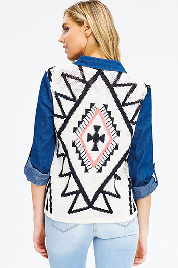 $15 - Cute cheap teal blue multicolor abstract ethnic print indian collar boho peasant blouse top - plus size navy blue cotton long sleeve ethnic print sweater knit contrast button up boho blouse top