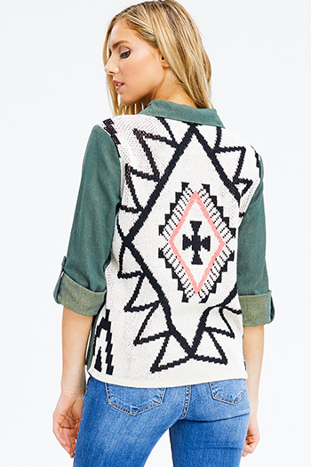 $20 - Cute cheap black embroidered laceup caged back boho peasant tank top - plus size olive green cotton long sleeve ethnic print sweater knit contrast button up boho blouse top