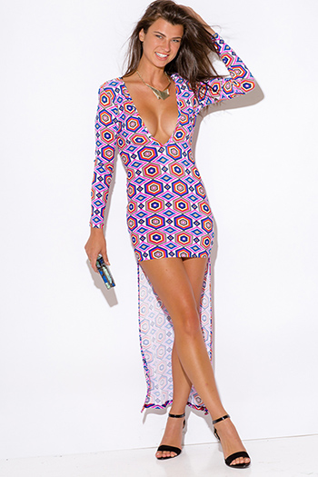 $7 - Cute cheap v neck open back evening dress - plus size multi color hot pink medallion print deep v neck long sleeve backless fitted high low sexy party dress
