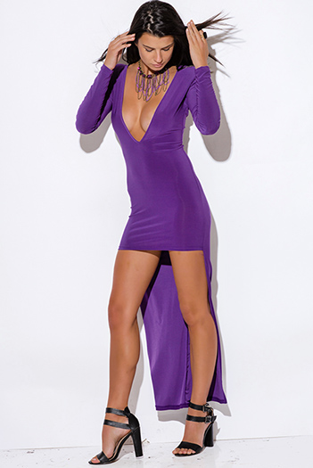 $7 - Cute cheap pocketed sexy party dress - plus size royal purple deep v neck backless long sleeve high low evening party dress