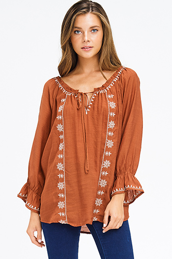 $25 - Cute cheap charcoal gray stripe embroidered long bubble sleeve boho peasant top - plus size rust brown rayon gauze off shoulder embroidered boho peasant blouse top