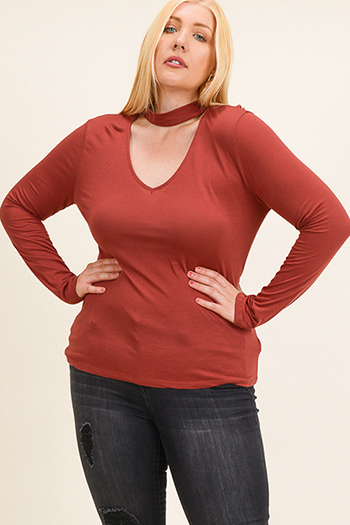 $15 - Cute cheap floral bell sleeve top - Plus size rust burnt orange cut out mock neck long sleeve knit top